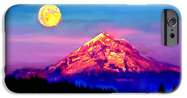 Painter Photo Photographs iPhone Cases - Full Moon Rising over Mount Hood Oregon iPhone Case by  Bob and Nadine Johnston