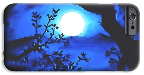 Moonscape Mixed Media iPhone Cases - Full Moon Rising iPhone Case by SophiaArt Gallery