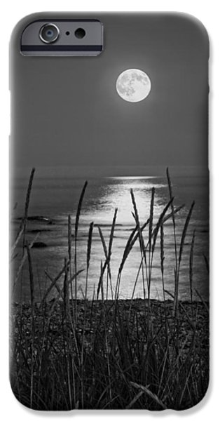 Coastline Digital Art iPhone Cases - Full Moon Seawall Beach Acadia National Park iPhone Case by Keith Webber Jr