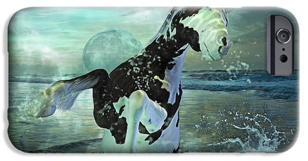 Sea Moon Full Moon Mixed Media iPhone Cases - Full Moon Twist and Shout iPhone Case by Betsy A  Cutler