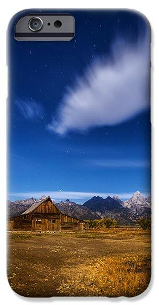Moonlit Night Photographs iPhone Cases - Full Moonlit Mormon Barn at Grand Teton NP iPhone Case by Vishwanath Bhat