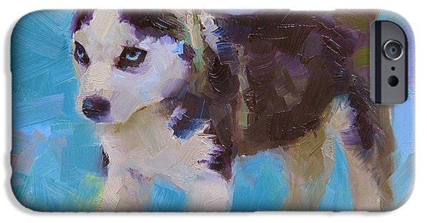 Huskies iPhone Cases - Full Of It - Alaskan Husky Sled Dog Puppy iPhone Case by Karen Whitworth