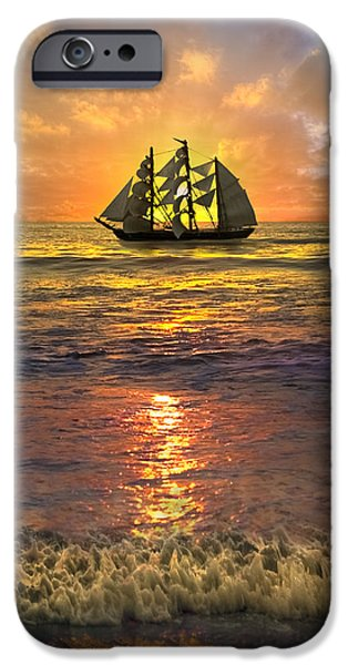 Sailboat Ocean iPhone Cases - Full Sail iPhone Case by Debra and Dave Vanderlaan