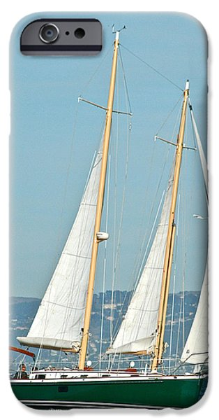 Sailboat Pyrography iPhone Cases - Full Sail iPhone Case by DUG Harpster