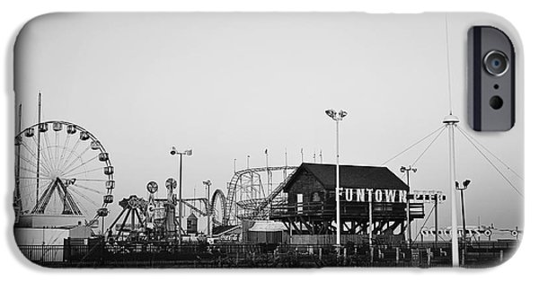 Seaside Heights iPhone Cases - Fun at the Shore Seaside Park NJ Black and White iPhone Case by Terry DeLuco