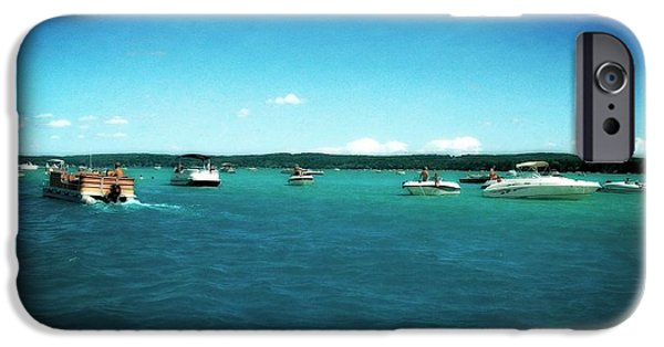 Michelle iPhone Cases - Fun on the Torch Lake Sandbar iPhone Case by Michelle Calkins
