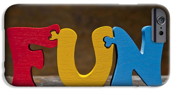 Positive Attitude iPhone Cases - Fun Puzzle Painted Wood Letters iPhone Case by Donald  Erickson