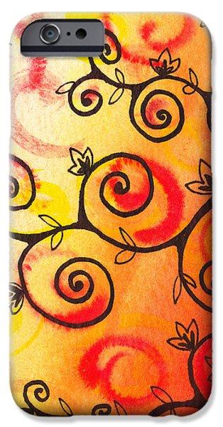 Rust iPhone Cases - Fun Tree Of Life Impression I iPhone Case by Irina Sztukowski