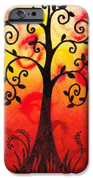 Rust iPhone Cases - Fun Tree Of Life Impression III iPhone Case by Irina Sztukowski