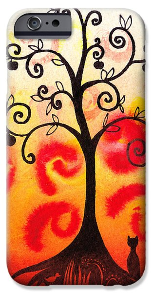 Rust iPhone Cases - Fun Tree Of Life Impression IV iPhone Case by Irina Sztukowski