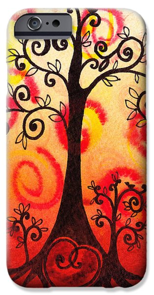 Modern Abstract iPhone Cases - Fun Tree Of Life Impression VI iPhone Case by Irina Sztukowski