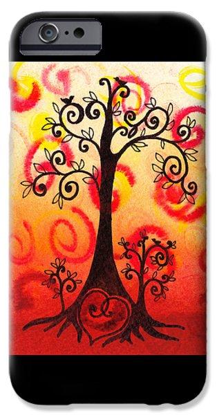 For Children iPhone Cases - Fun Tree Of Life Impression VI iPhone Case by Irina Sztukowski