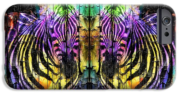 Abstract Digital Art iPhone Cases - Fun Zebras iPhone Case by Kathleen Struckle