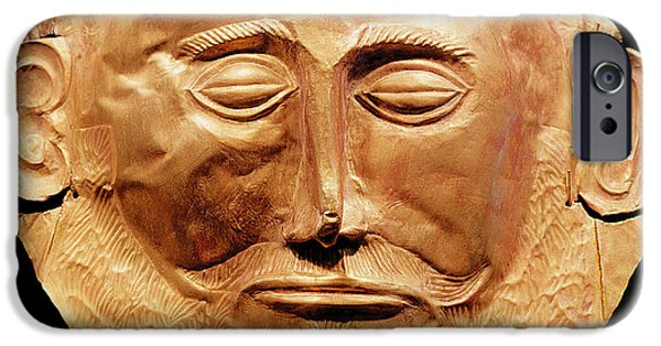 Face Photographs iPhone Cases - Funerary Mask From Mycenae, Formerly Thought To Be That Of Agamemnon Gold iPhone Case by Mycenaean