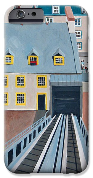 Business Paintings iPhone Cases - Funicular in Quebec City iPhone Case by Toni Silber-Delerive