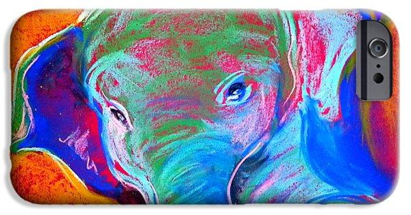 Elephants iPhone Cases - Funky Baby Elephant Blue iPhone Case by Sue Jacobi