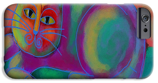Abstract Digital Paintings iPhone Cases - Funky Cat iPhone Case by Jackie Ludtke