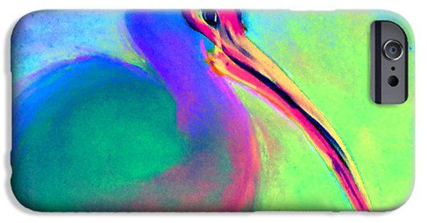 Sea Birds iPhone Cases - Funky Colorful White Ibis Art Print iPhone Case by Sue Jacobi