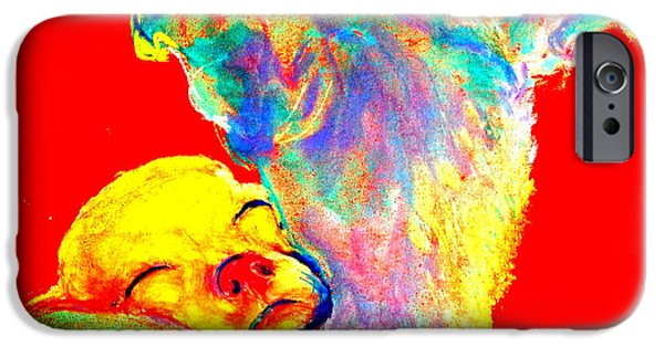 Puppies iPhone Cases - Funky Doggie and Puppy Dog Art Print iPhone Case by Sue Jacobi