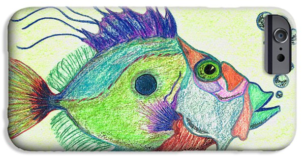Fish Mixed Media iPhone Cases - Funky Fish Art - By Sharon Cummings iPhone Case by Sharon Cummings