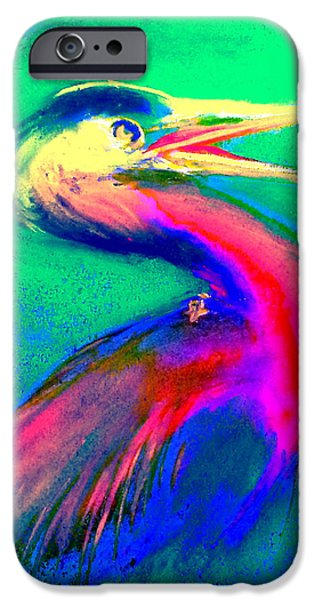 Pastel iPhone Cases - Funky GBH Great Blue Heron Bird Art Prints iPhone Case by Sue Jacobi