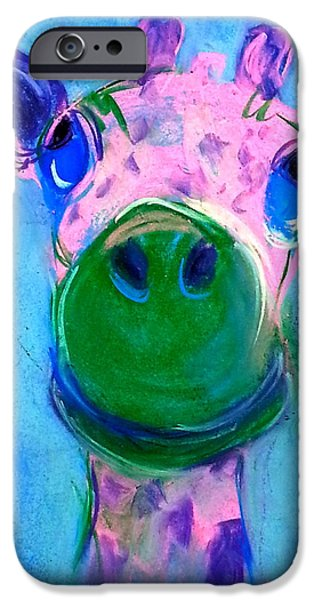 Pastel iPhone Cases - Funky Giraffe in Pink iPhone Case by Sue Jacobi