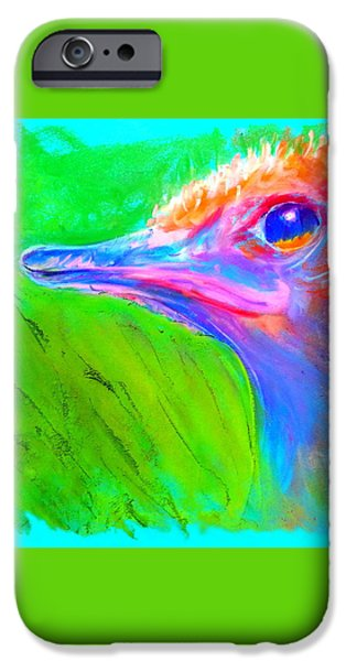 Birds iPhone Cases - Funky Ostrich Profile iPhone Case by Sue Jacobi