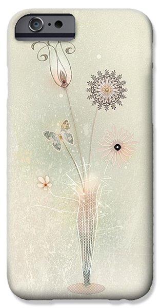 Floral Digital Art Digital Art iPhone Cases - Funky Spring Bouquet iPhone Case by Bernie  Lee