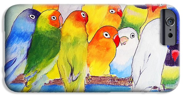 Nature Abstracts Pastels iPhone Cases - Funny Birds iPhone Case by Florentina Maria Popescu