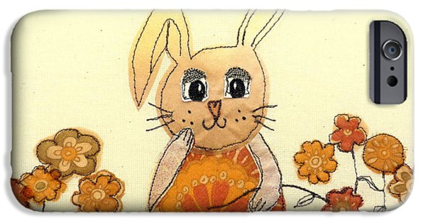 Child Tapestries - Textiles iPhone Cases - Funny Bunny iPhone Case by Hazel Millington