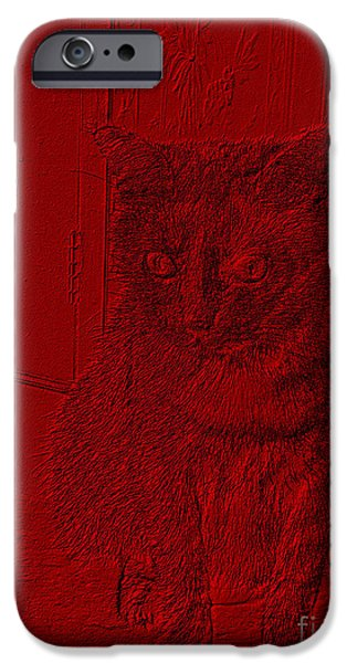 Red Abstract iPhone Cases - Funny cat red portrait iPhone Case by Oksana Semenchenko