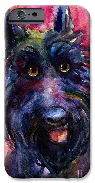 Scottish Terrier Watercolor iPhone Cases - Funny curious Scottish terrier dog portrait iPhone Case by Svetlana Novikova