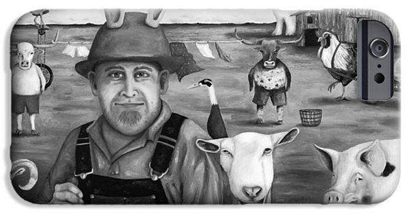 Steer Paintings iPhone Cases - Funny Farm bw iPhone Case by Leah Saulnier The Painting Maniac