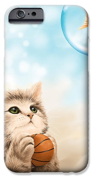 Cat Reflection iPhone Cases - Funny games iPhone Case by Veronica Minozzi