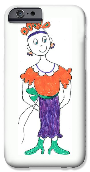 Little Girl iPhone Cases - Funny Lady iPhone Case by Lois Mann