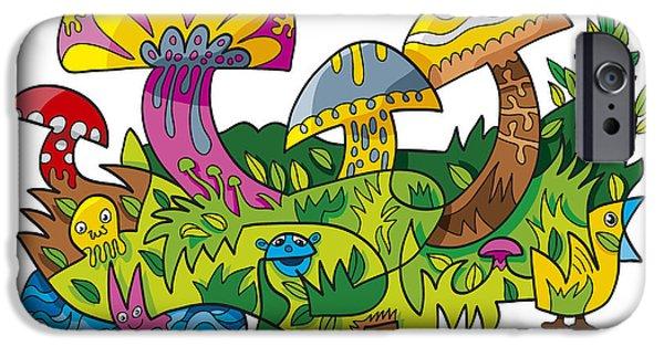 Cartoon iPhone Cases - Funny Mushroom Animals Scene Doodle iPhone Case by Frank Ramspott