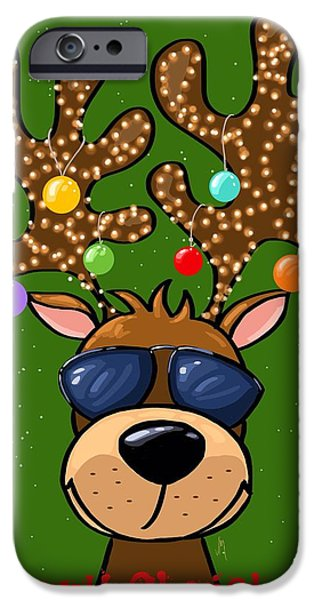 Animal Cards iPhone Cases - Funny reindeer iPhone Case by Veronica Minozzi