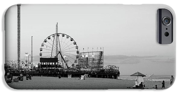 Fine Artwork iPhone Cases - Funtown Pier - Jersey Shore iPhone Case by Angie Tirado