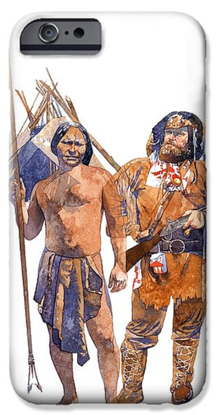 Weapon Paintings iPhone Cases - Fur Trader and American Indian iPhone Case by Matthew Frey