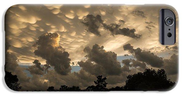 Turbulent Skies iPhone Cases - Furious Sky - Mammatus Clouds After a Violent Storm iPhone Case by Georgia Mizuleva