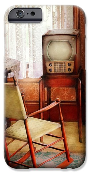 Furniture - Chair - The Invention of Television  iPhone Case by Mike Savad