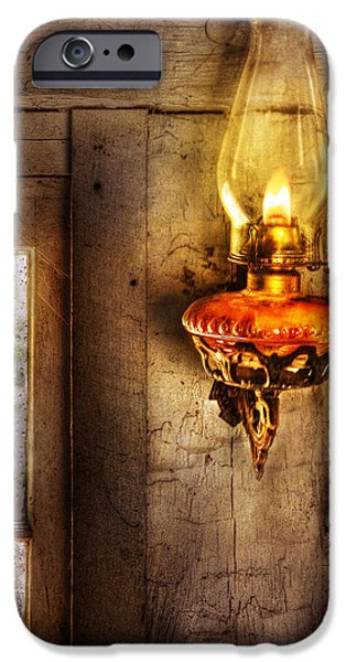 Cabin Window iPhone Cases - Furniture - Lamp - Kerosene Lamp iPhone Case by Mike Savad