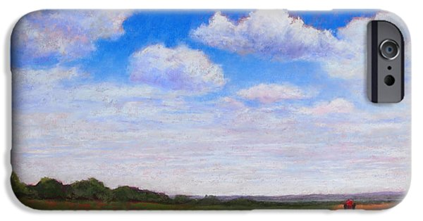 Farm Landscape Pastels iPhone Cases - Furrows at Midday iPhone Case by Bonnie Ferguson Butler