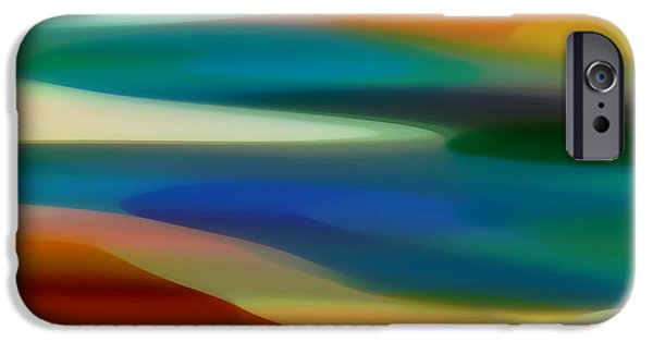 Abstract Digital Art iPhone Cases - Fury Seascape 5 iPhone Case by Amy Vangsgard