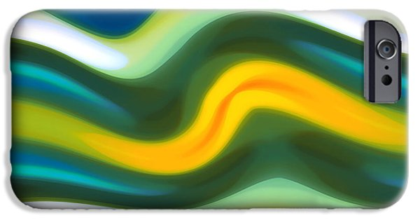 Abstract Beach Landscape Digital iPhone Cases - Abstract Tide 5 iPhone Case by Amy Vangsgard