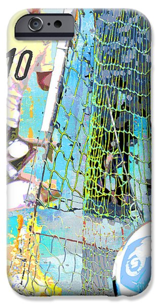 Spray Paint Mixed Media iPhone Cases - Futbol Soccer Player and Soccer Ball Print iPhone Case by ArtyZen Studios - ArtyZen Home