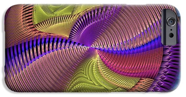 Disc iPhone Cases - Futuristic Blue Pink And Yellow Tech Disc Fractal Flame iPhone Case by Keith Webber Jr