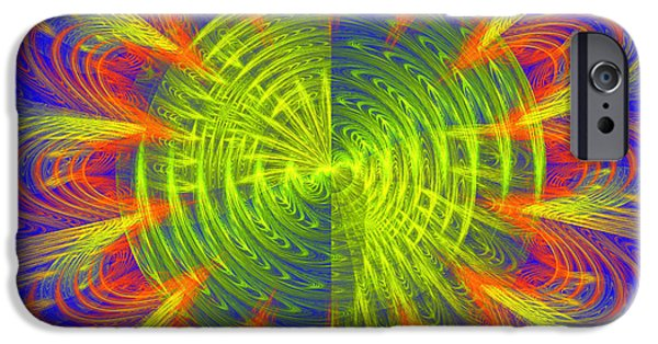Disc iPhone Cases - Futuristic Disc Blue Red And Yellow Fractal Flame iPhone Case by Keith Webber Jr