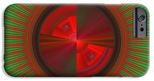 Disc iPhone Cases - Futuristic Green And Red Tech Disc Fractal Flame iPhone Case by Keith Webber Jr