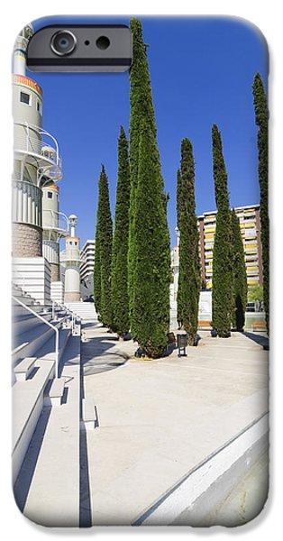 Futuristic park in Barcelona Spain iPhone Case by Matthias Hauser